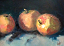 Three Apples by Karen Meredith Oil ~ 6 x 8