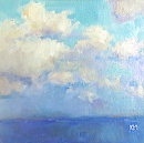 Bald Head Sky by Karen Meredith Oil ~ 6 x 6