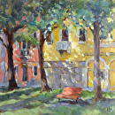 A Bench in Venice by Karen Meredith Oil ~ 12 x 12
