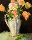 Flowered Pitcher by Karen Meredith Oil ~ 10 x 8