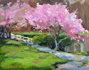 Cherry Blossom Time by Karen Meredith Oil ~ 8 x 10
