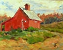 Red Barn by Karen Meredith Oil ~ 8 x 10