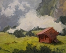 Swiss Hut by Karen Meredith Oil ~ 8 x 10