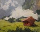Swiss Hut by Karen Meredith Oil ~ 8 x 10