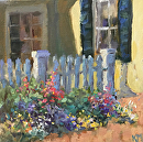 Garden Fence by Karen Meredith Oil ~ 8 x 8