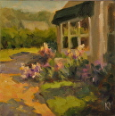Book Shop Garden by Karen Meredith Oil ~ 8 x 8