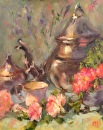 A Flowered Tea by Karen Meredith Oil ~ 14 x 11