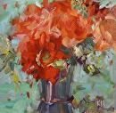 Rouge Luxe by Karen Meredith Oil ~ 8 x 8