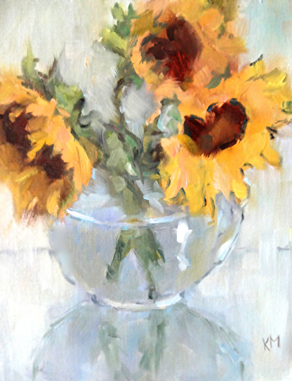 Sunflowers in a Glass Vase - Oil