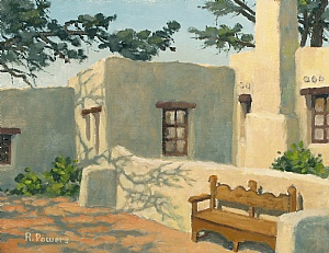 "Torrey Pines Reserve - The Lodge by Richard T Powers Oil ~ 11"" x 14"""
