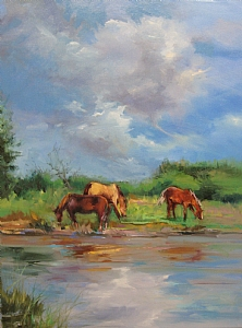 Three Horses by Mary Maxam Oil ~ 24 x 18