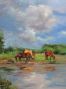 Three Horses by Mary Maxam Oil ~ 24 x 18