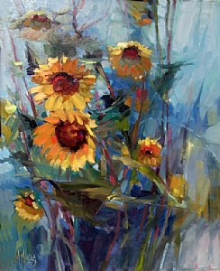 Twin Blooms by Mary Maxam Oil ~ 20 x 16