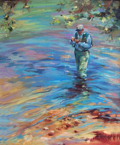 Tying One On by Mary Maxam Oil ~ 24 x 20