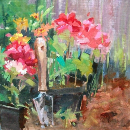 Planting Annuals by Mary Maxam Oil ~ 8 x 8