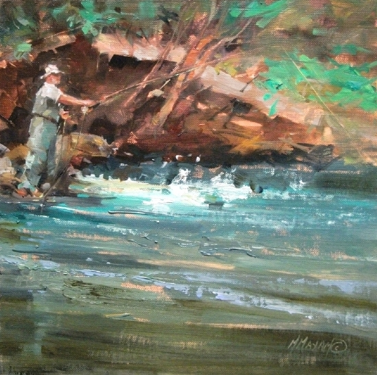 His Day Off by Mary Maxam Oil ~ 9 x 9