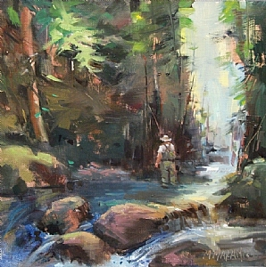 Working Up River by Mary Maxam Oil ~ 9 x 9