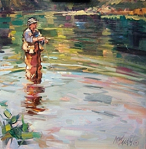 """Afternoon Reflections by Mary Maxam Oil ~ 8"""" x 8"""""""
