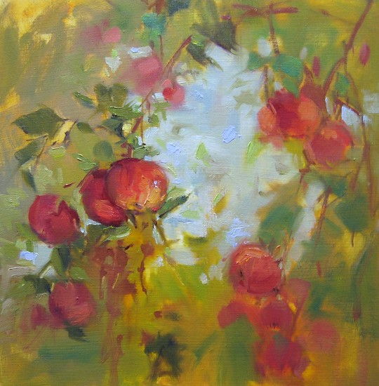 "Apple Sky by Mary Maxam Oil ~ 9"" x 9"""