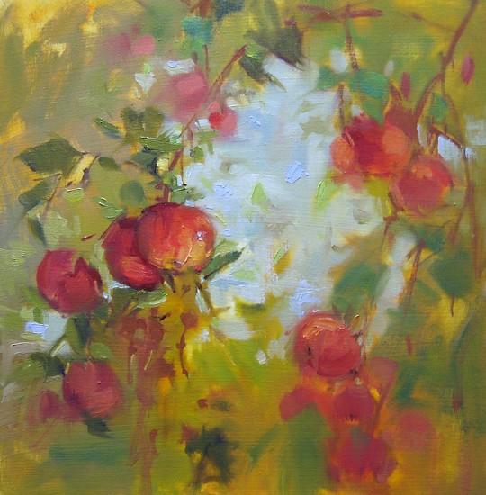 """Apple Sky by Mary Maxam Oil ~ 9"""" x 9"""""""