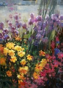 Harbor Flower Box by Mary Maxam Oil ~ 14 x 10