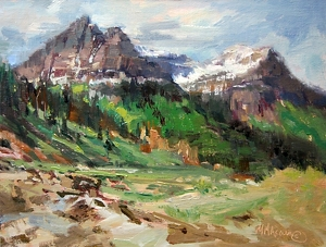 "Glacier Park Peaks by Mary Maxam Oil ~ 9"" x 12"""