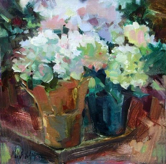 "Hydrangea Floral by Mary Maxam Oil ~ 8"" x 8"""
