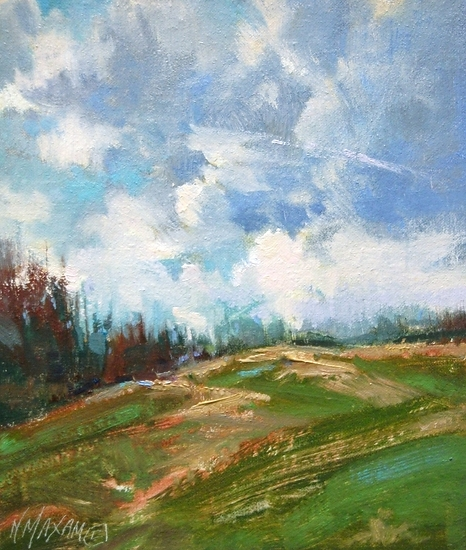 "Afternoon Horizon by Mary Maxam Oil ~ 7"" x 6"""