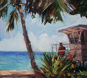 "Lifeguard by Mary Maxam Oil ~ 7"" x 8"""