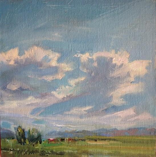 "Big Sky by Mary Maxam Oil ~ 7"" x 7"""