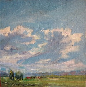 "Big Sky by Mary Maxam Oil ~ 7"" x 7"""