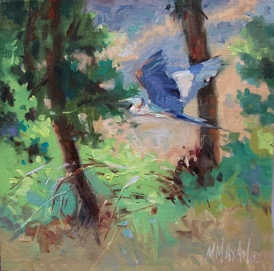 "Great Blue Heron by Mary Maxam Oil ~ 8"" x 8"""