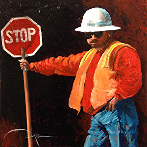 "Slow Down, Big Guy! by Duke Windsor Acrylic ~ 10"" x 10"""