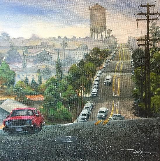 Red Car on Howard - Acrylic