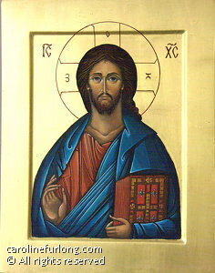"Jesus Christ the Savior of the World by Caroline Furlong egg tempera ~ 14"" x 11"""