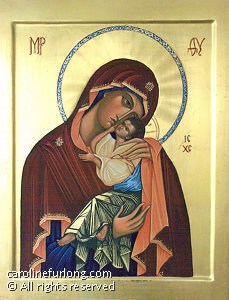 "Virgin of Tenderness by Caroline Furlong egg tempera ~ 17"" x 13"""