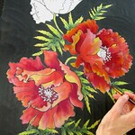 Svitlana Prouty - Workshop 2 HAND-PAINTED SILK SCARF WITH POPPY FLOWERS