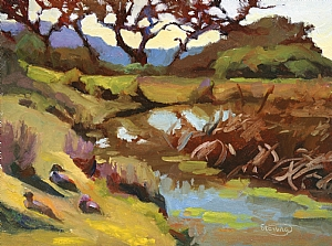 "Above Spring Lake by Sterling Hoffmann Oil ~ 9"" x 12"""