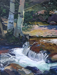"Legible Cascade by Sterling Hoffmann Oil ~ 16"" x 12"""