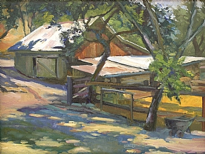 "Horse Barn by Sterling Hoffmann Oil ~ 12"" x 16"""