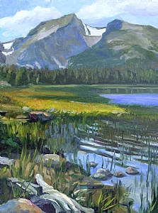 "Bierstadt Lake by Sterling Hoffmann Oil ~ 16"" x 12"""