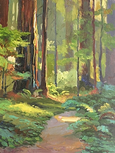 "Redwood Walk by Sterling Hoffmann Oil ~ 16"" x 12"