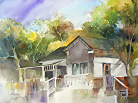 Washington & Main in Julian, CA by Chuck McPherson Watercolor ~ 18 x 24