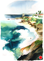 La Jolla Surfer by Chuck McPherson Watercolor ~ 30 x 22