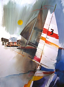 Luffing by Chuck McPherson Watercolor ~ 30 x 22