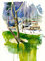 Chula Vista Marina by Chuck McPherson Watercolor ~ 30 x 22