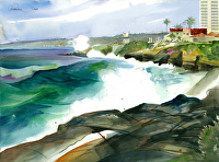 Giant Surf, La Jolla by Chuck McPherson Watercolor ~ 22 x 30