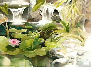 Bobbi�s Koi Pond by Chuck McPherson Watercolor ~ 22 x 30