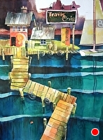 Gone Fishin' by Chuck McPherson Watercolor ~ 30 x 22
