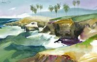 Bird Rock, La Jolla by Chuck McPherson Watercolor ~ 22 x 30
